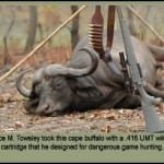 Bryce Towsley took this cape buffalo with a .416 UMT wildcat cartridge he designed for dangerous game hunting.