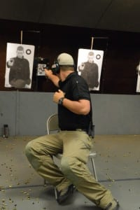 Dylan Kenneson demonstrates the safe and effective way to deal with a target behind you when seated.