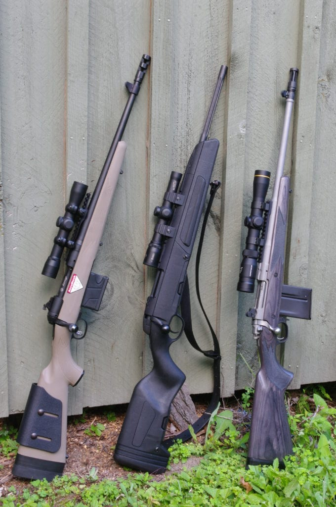 Current Scout Rifles from Savage, Steyr and Ruger.